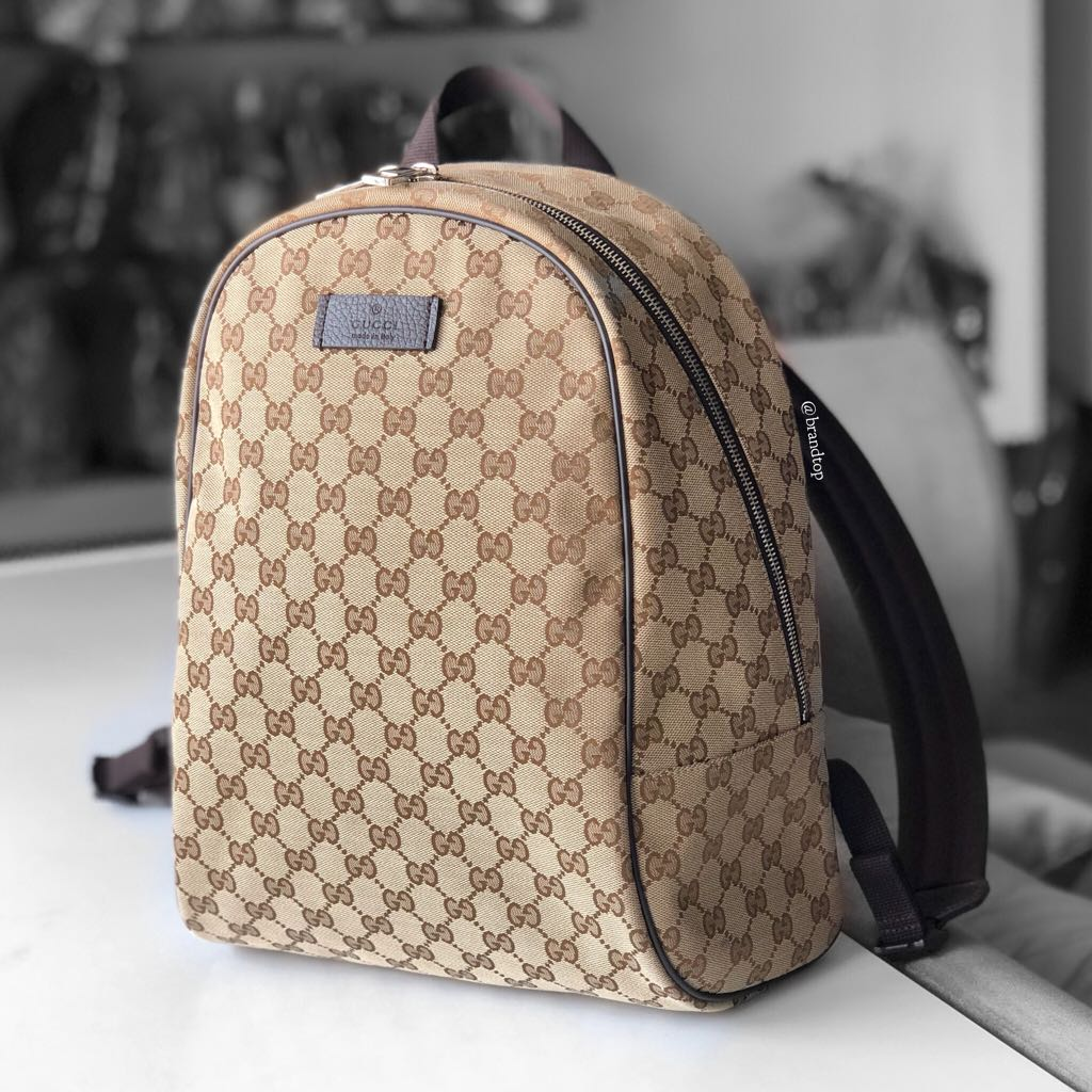 ba61c3772b75 Authentic Gucci Signature Canvas Zip Backpack, Luxury, Bags ...