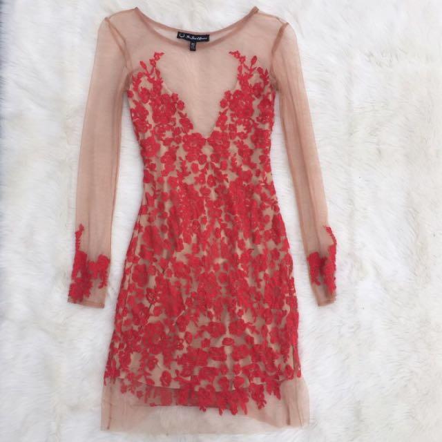 d72937c4b7f1d AUTHENTIC Love & Lemons Dress Luau Red Lace Mini, Women's Fashion ...