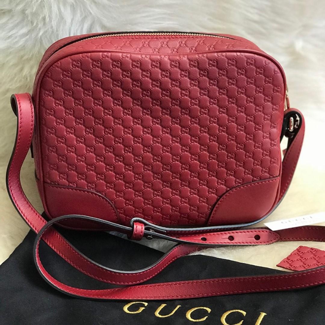 e499a027494793 Carousell의 BAND NEW Gucci 449413 Red Leather Micro GG Guccissima ...