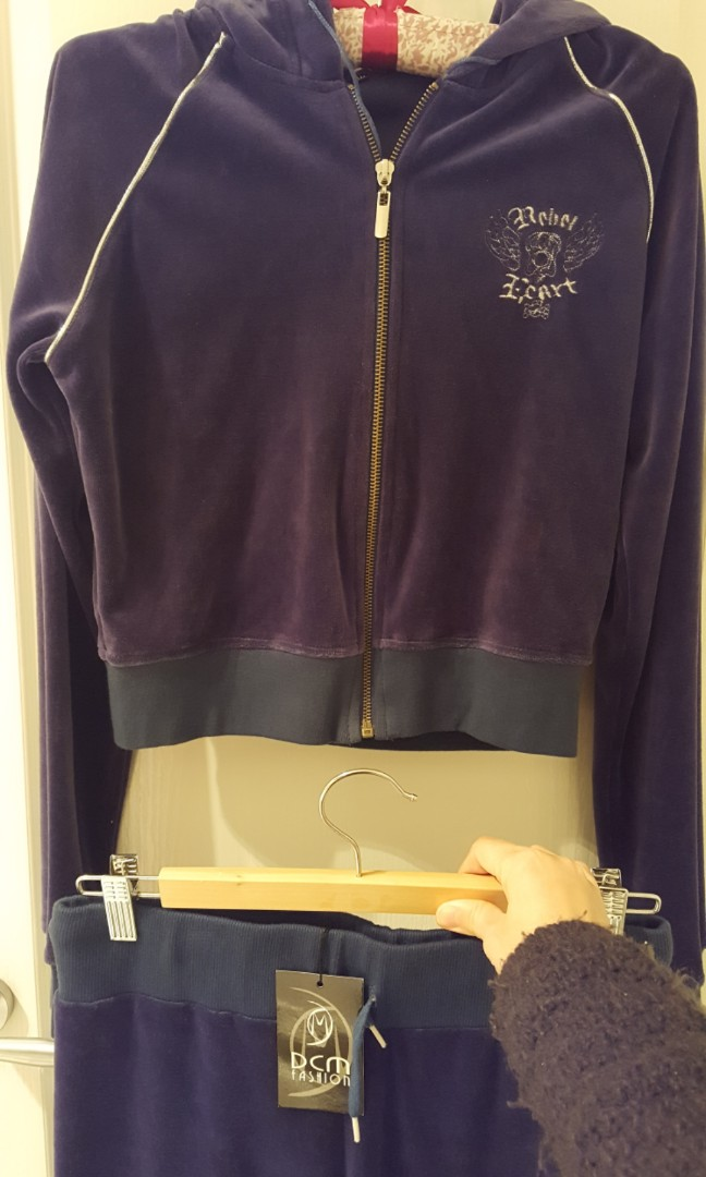 BNWT Velvet crop tracksuit and pants duo