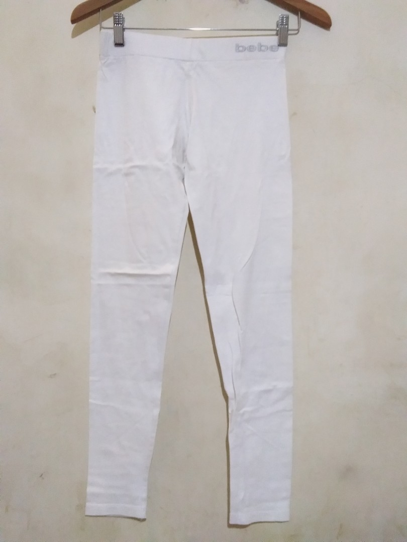 Celana Legging Putih Polos Fesyen Wanita Pakaian Wanita Bawahan Di Carousell