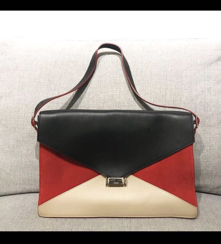 Celine Diamond Bag in Red Suede