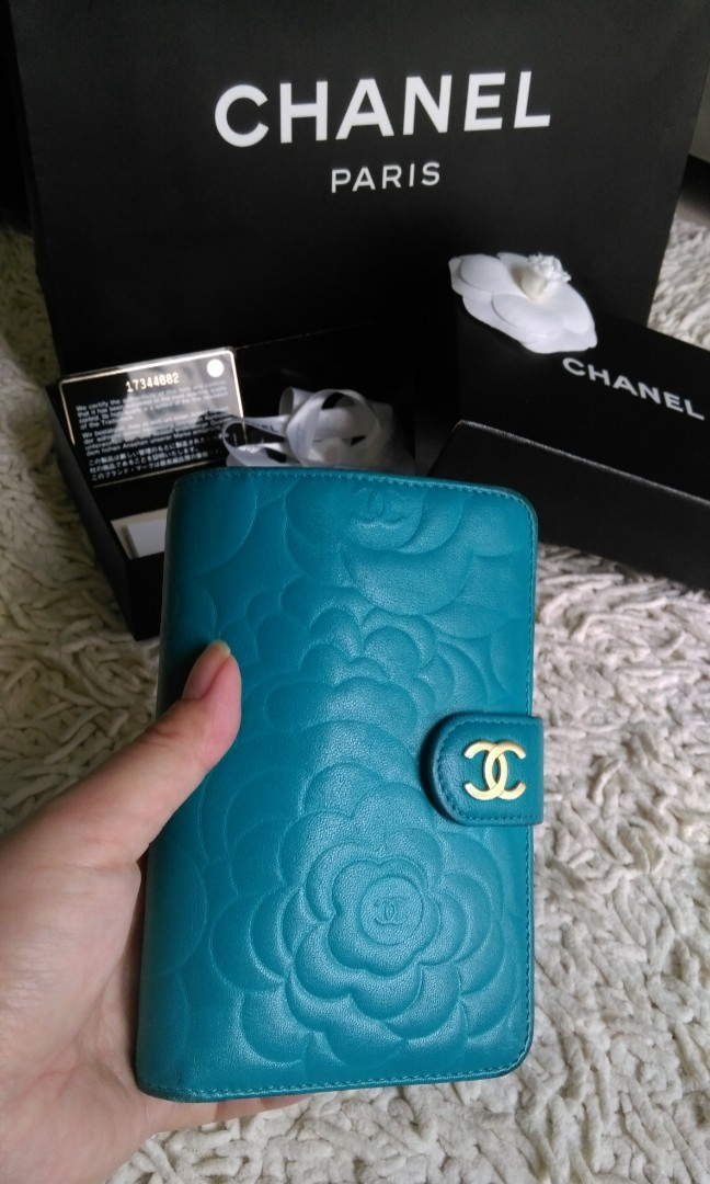 8cbce3be 💖💯% AUTHENTIC CHANEL Camellia French wallet Camelia Flower Compact Bi  Fold Emerald blue Turquoise Lambskin Zip Zipper zipped Around Medium With  ...