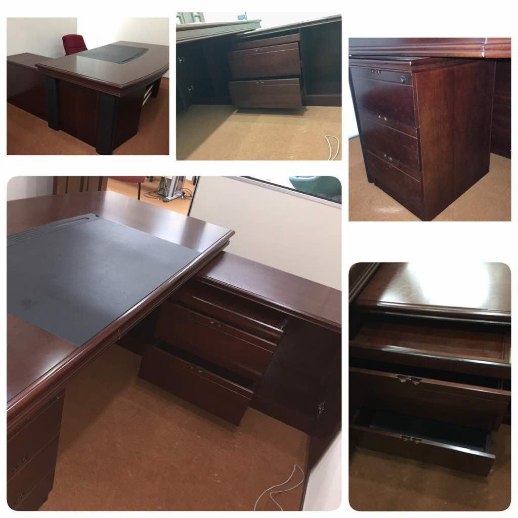 Executive Office Table With Side Table And Drawers For Sale