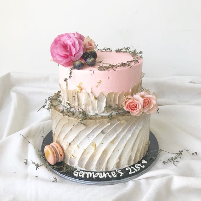 Floral Cake 2 Tiered Customized Birthday