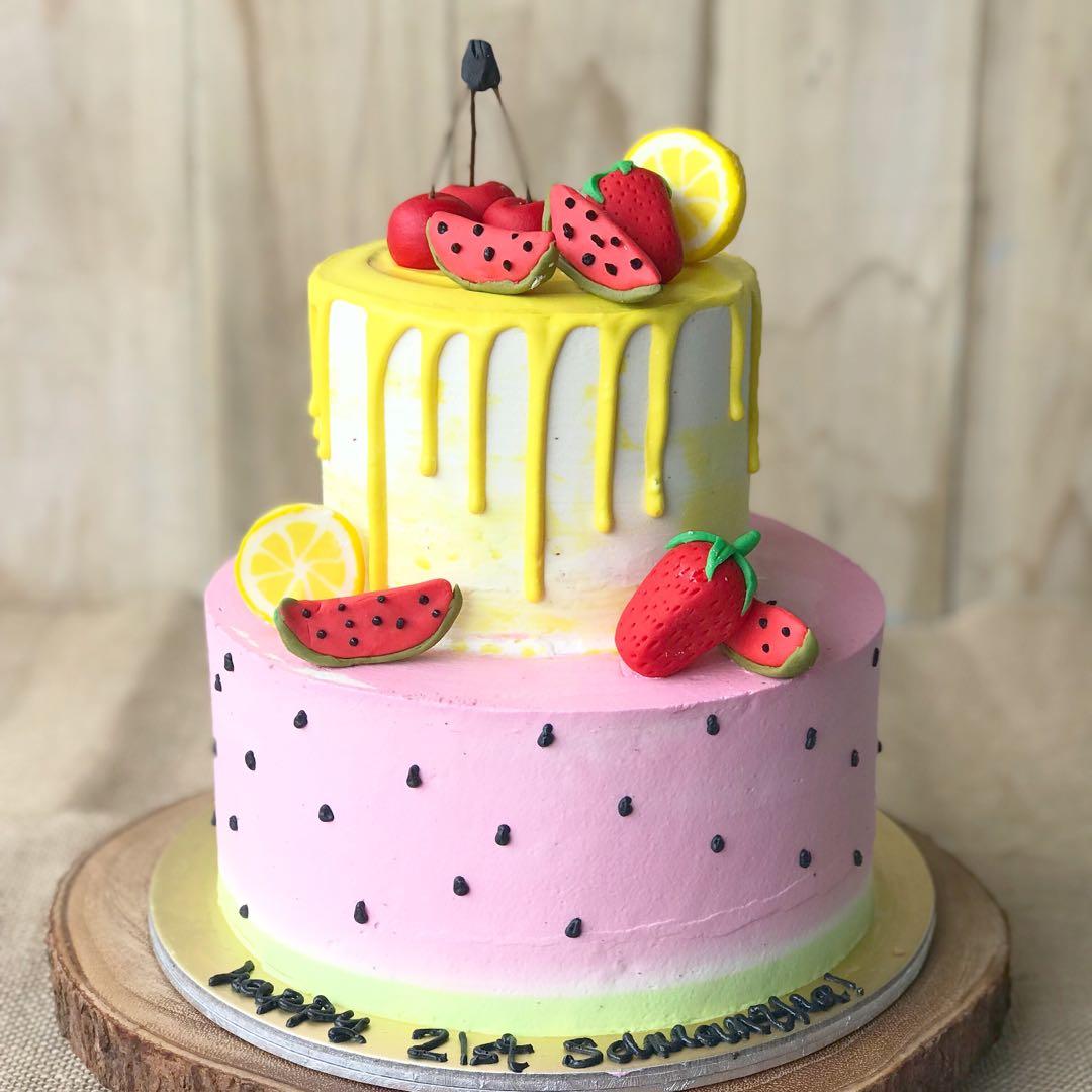 Fun Fruit Cake Rainbow Cake Colorful Cake Kids Cake 21st Bday