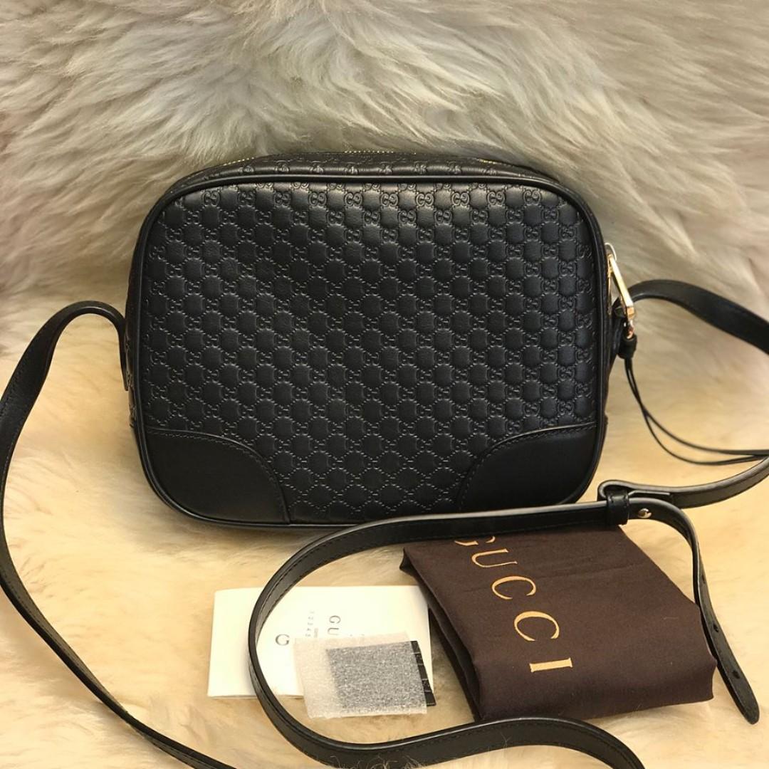29af1efff27 GUCCI BRAND NEW 449413 black Leather Micro GG Guccissima BREE ...