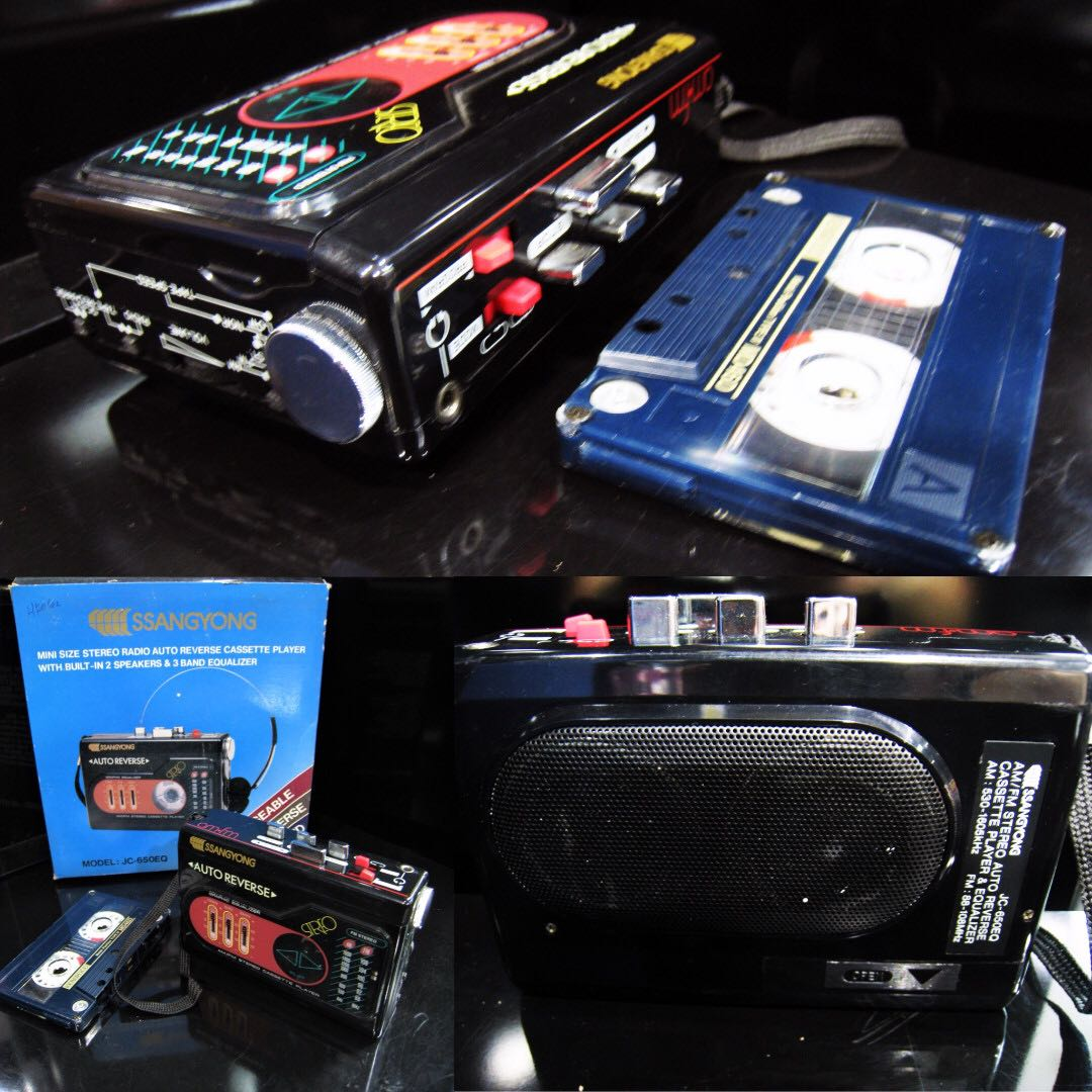 HARD TO FIND -VINTAGE COLLECTABLES '80s BRAND NEW OLD STOCK SSANGYONG  STEREO RADIO AUTO-REVERSE CASSETTE PLAYER WITH BUILT-IN 2 SPEAKERS (NEED  REPAIRS