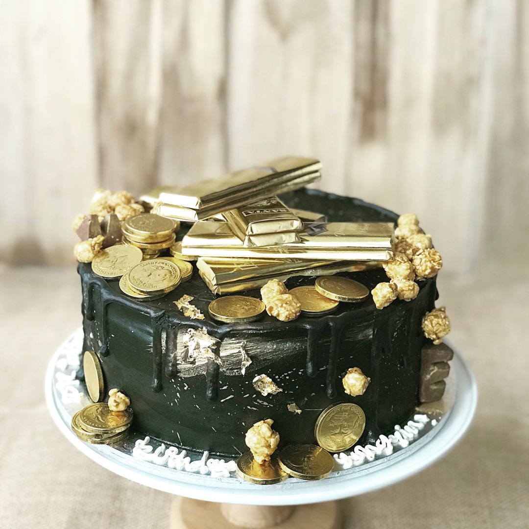 Men S Birthday Cake Black And Gold Casino Gold Bars Food