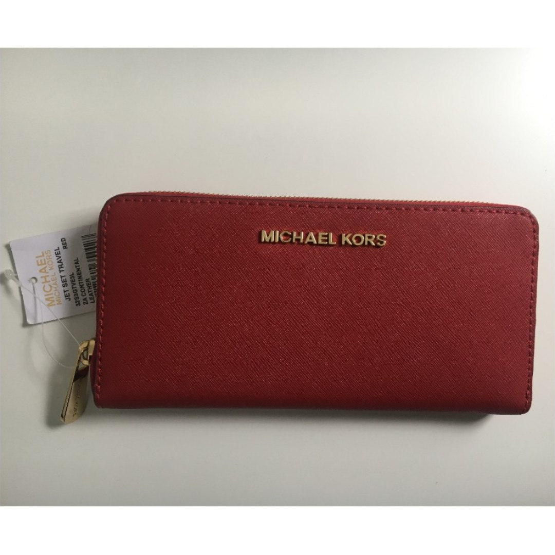 7a5d4e84a5ace Michael Kors Jet Set Travel Leather Continental Wallet - RED ...
