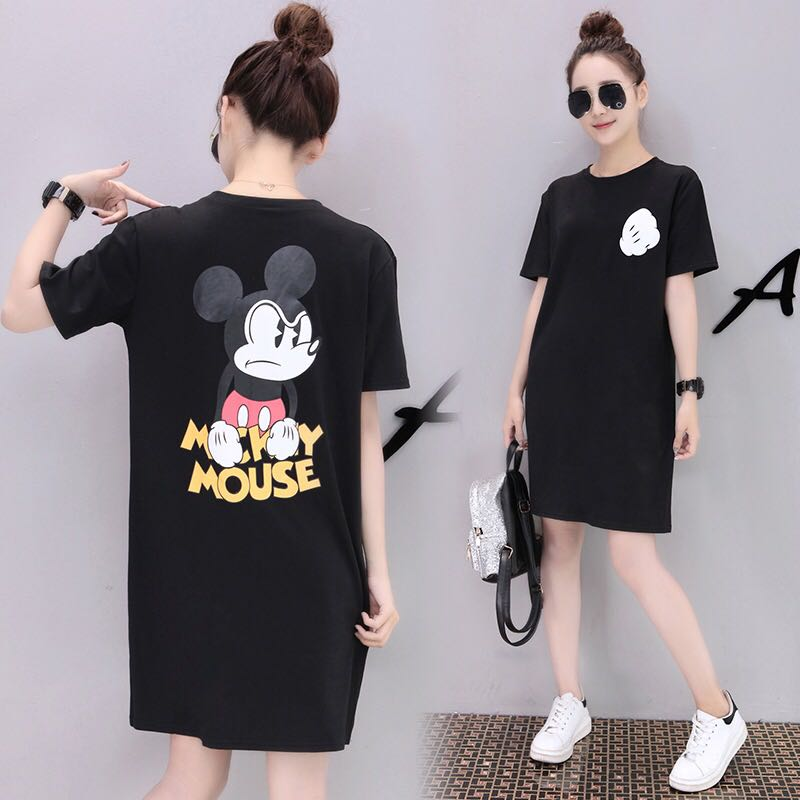 Mono Coloured With Back Annoyed Mickey Mouse Cartoon Printed Dress