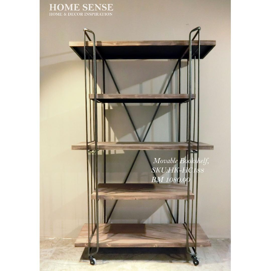 MOVABLE BOOKSHELF WOODEN SHELF METAL FRAME Home Furniture On Carousell