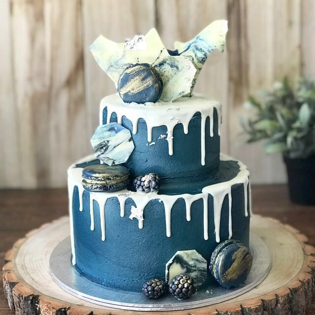 Pleasing Navy Blue Themed Cake Customized Cake 21St Bday Party Food Funny Birthday Cards Online Fluifree Goldxyz