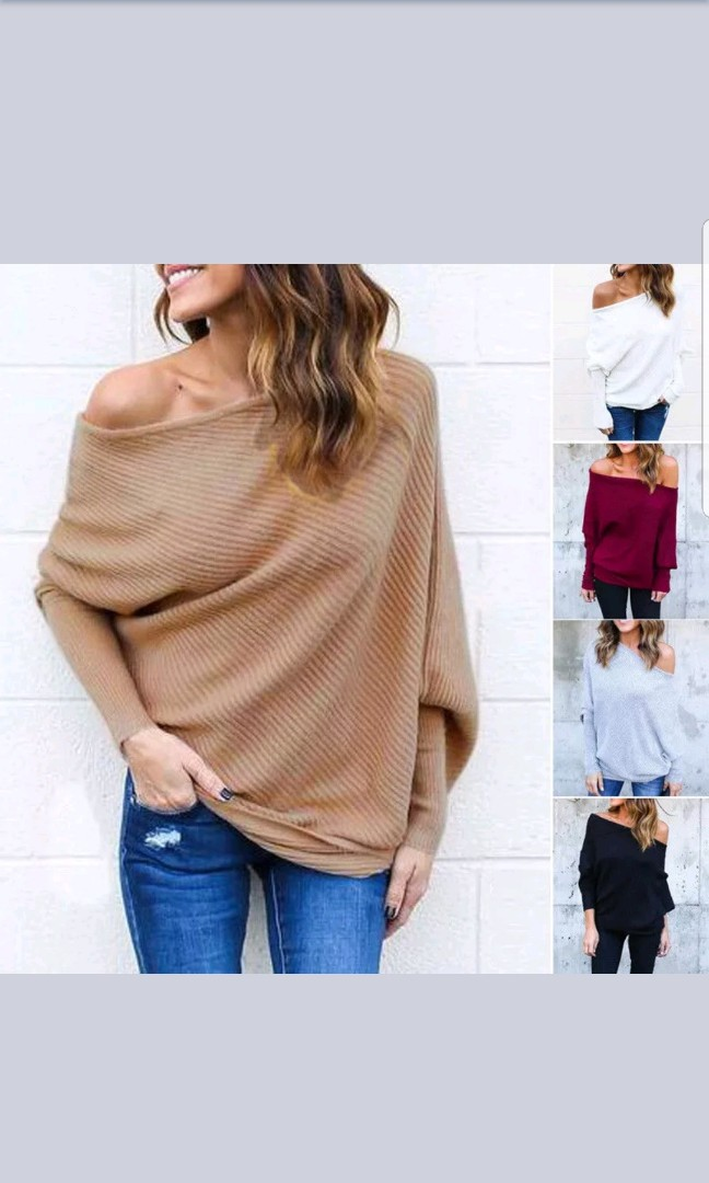 8f67bf0260e68 Oversize Lady Off Shoulder Batwing Sleeve Knit Sweater Tops Pullover  Outwear