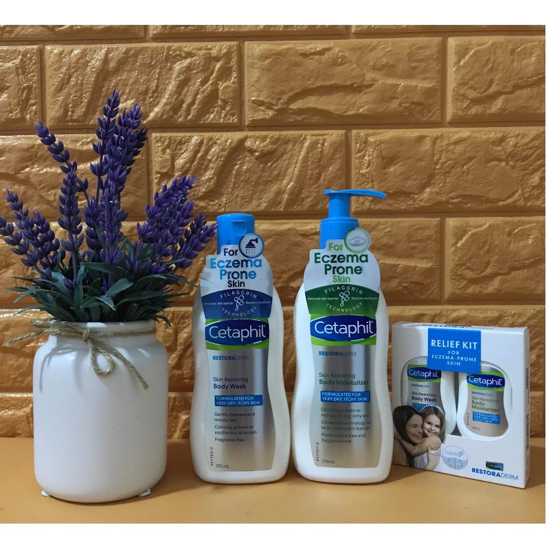 Cetaphil Restoraderm Skin Restoring Moisturizer 29ml Travel Size Body Wash 295ml Bodywash Moisturiser With Relief Kit Health Beauty Bath
