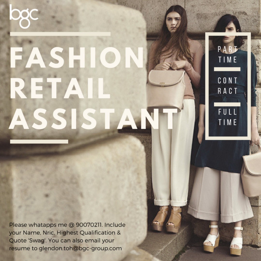 Retail Assistants($8.5/h | Immediate| Islandwide| No exp ok)