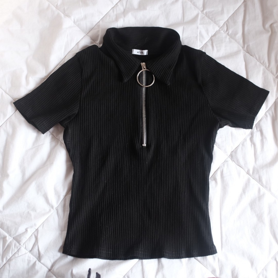 Ribbed Top with O-ring Zipper