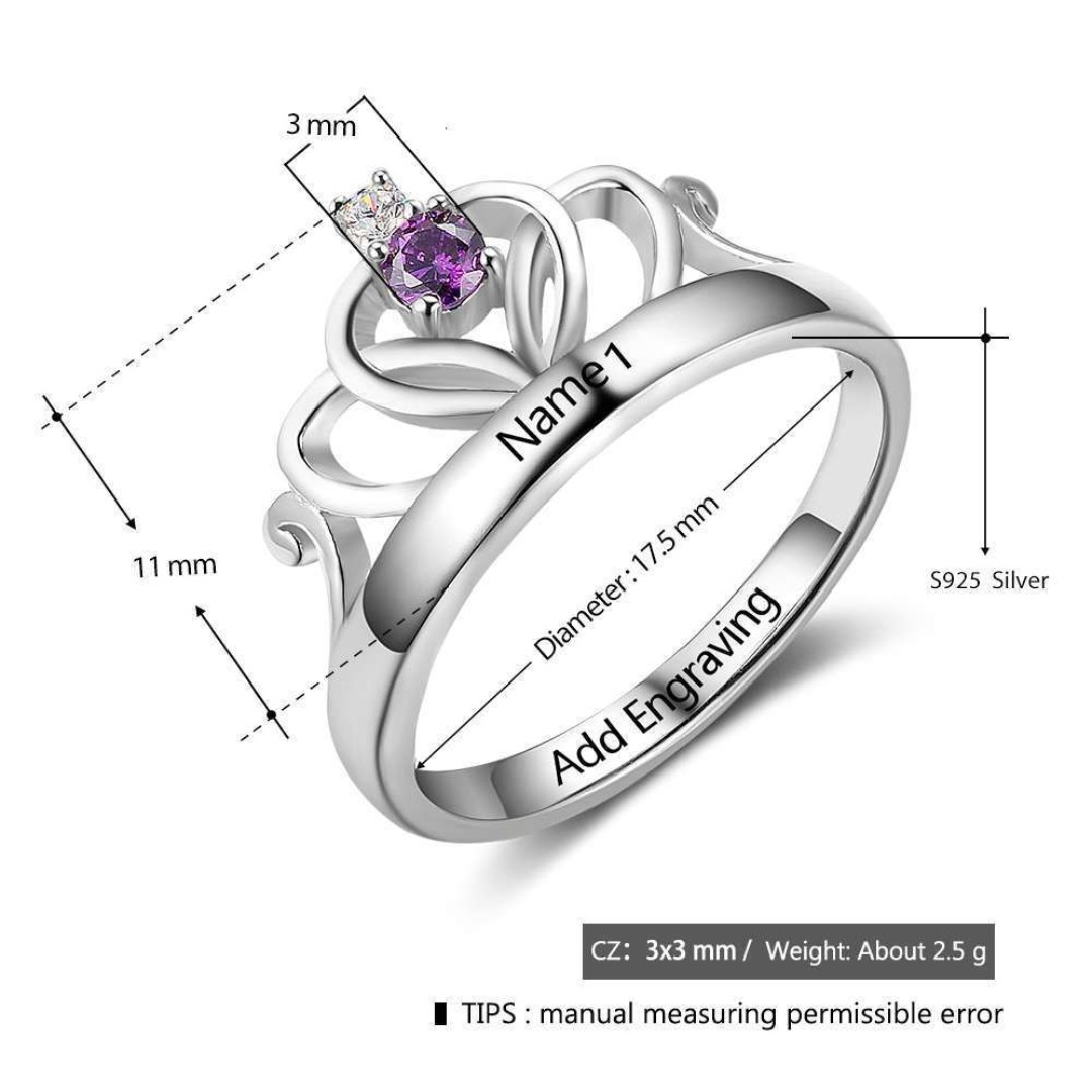 0f4c2fa6ee Sterling Silver Custom Promise Rings Personalized Name Birthstone couple  anniversary, Women's Fashion, Jewellery, Rings on Carousell