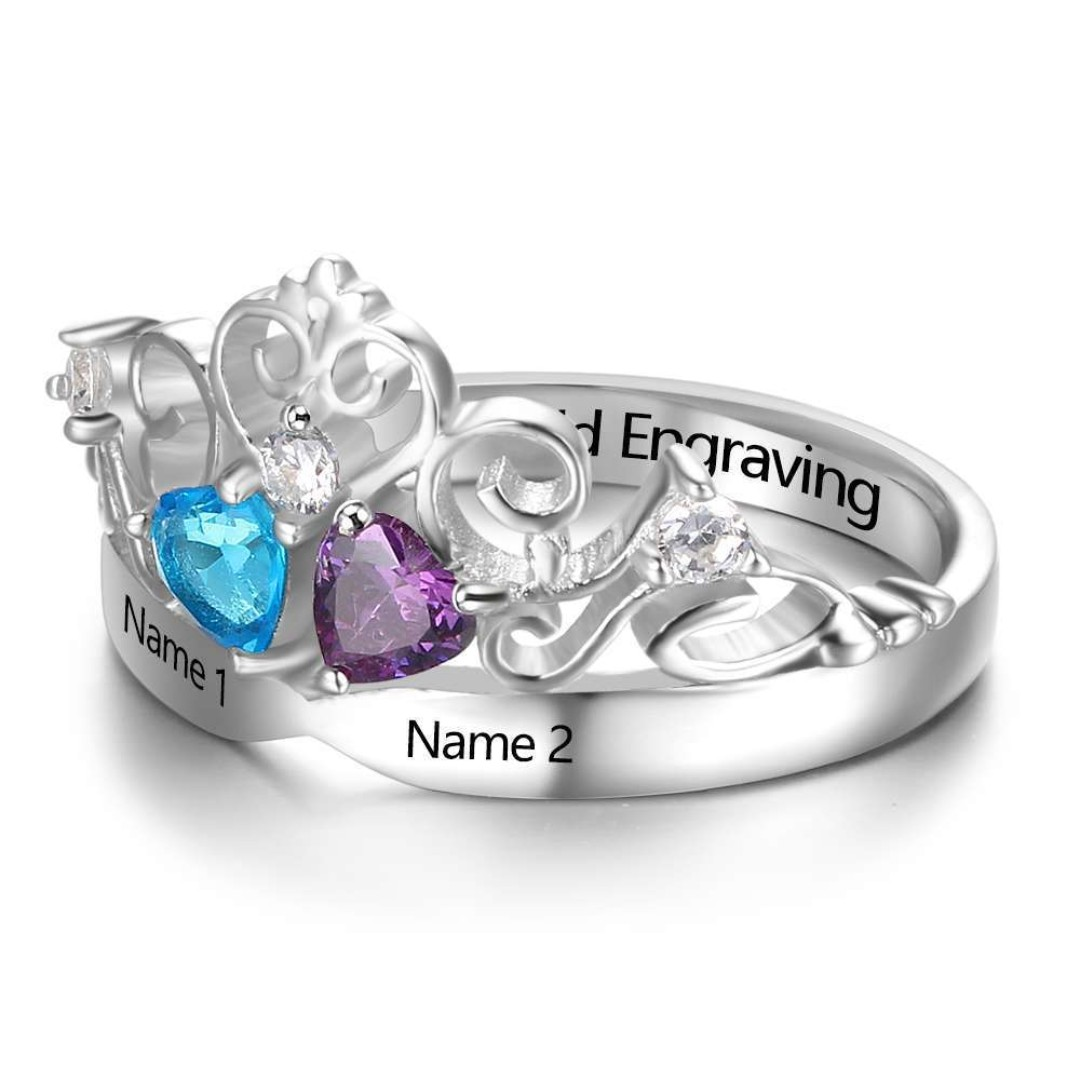 8aaff3a17d Sterling Silver Custom Promise Rings Personalized Name Birthstone ...