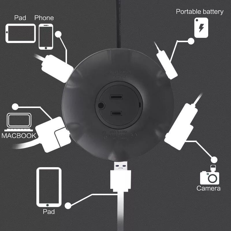 Universal Plug Extension Cord Fast Usb Charging Small Donut
