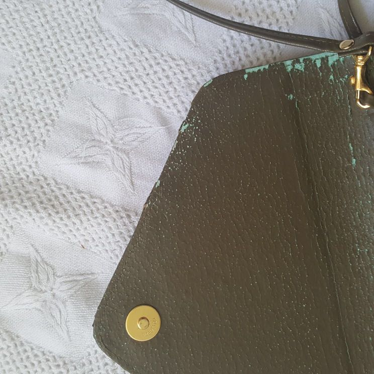 Vintage Green Suede Purse