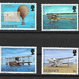 澤西島1973航空歷史氣球飛機票中票4全新