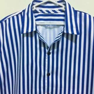 Rare Vintage Blue Stripes Button Down Polo