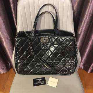 Authentic Chanel Classic Black Glazed Calfskin Boy Tote Bag