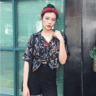 tropical floral button up top