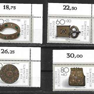 1987年 聯邦德國西德郵票 社會福利·金銀飾品 4全
