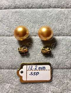 Gold South Sea Pearls 12.2mm with Genuine 14k Gold Setting and Backing