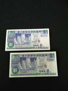 B/23: 111111 old sg $1 notes