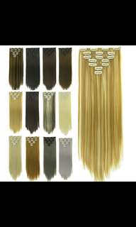 Preorder 7pcs clip on straight hair extension * waiting time 15 days after payment is made * chat to buy to order