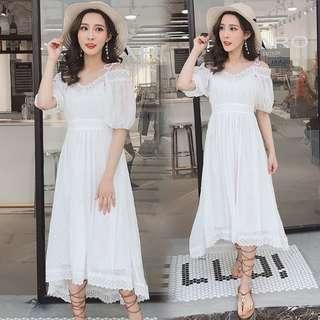 76514 #新款雪纺波西米亞風露肩裙  尺码:S M L XL  颜色:圖片色