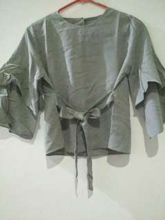 [PRELOVED] BLOUSE LONCENG GREY