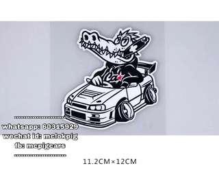 贴纸 gtt r34 鱷魚 汽車反光防水貼紙