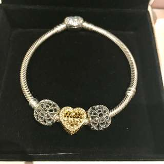 Pandora bracelet 19cm with charms