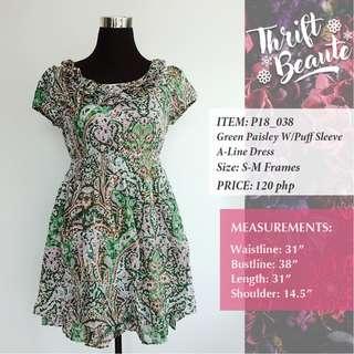 Green Paisley W/ Puff Sleeve A-Line Dress