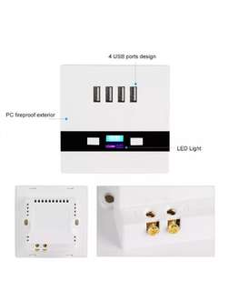 4 ports LED light USB charger Wall Socket Charger Station