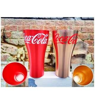 可口可樂紅金兩色鋁杯兩隻