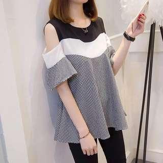 (XL~5XL) 2018 Summer Korean stitching strapless short-sleeved plaid shirt
