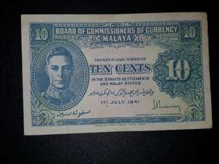 Old Note ▪ MALAYA TEN CENTS