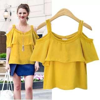 (XL~5XL) Summer Women Europe and America Ruffled Short Sleeve Sling Chiffon Shirt T-shirt