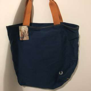Fred Perry Tote Bag 藍色帆布