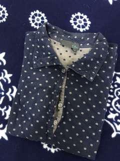 🚚 GOZO純棉小清新點點日本藍微公主袖上衣