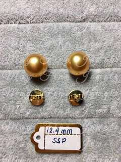 Gold South Sea Pearls 12.4mm in Genuine 14K Gold Setting