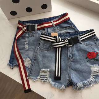 ulzzang striped belt without holes