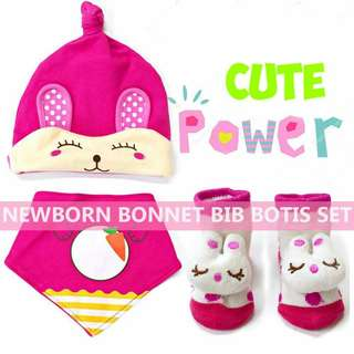 BABY BONNET BIB BOOTIES SET