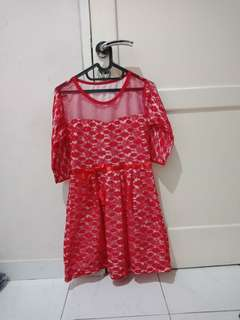 Dress merah brukat / red dress