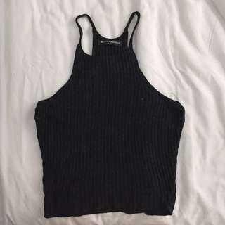 BRANDY MELVILLE Black Knitted Halter Top